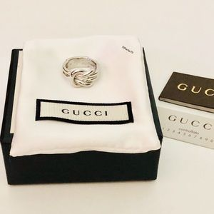 New Authentic Gucci Grande Knot Silver Ring Size 7